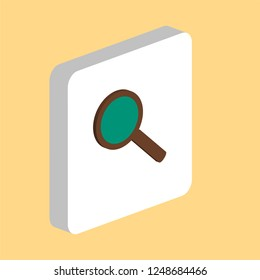 Search Glass Simple vector icon. Illustration symbol design template for web mobile UI element. Perfect color isometric pictogram on 3d white square. Search Glass icons for you business project