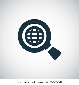 search globe icon, isolated, black on the white background. Vector