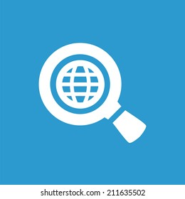 search globe icon, isolated, white on the blue background. Exclusive Symbols