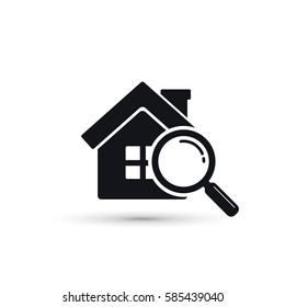 Search house icon with magnifier. Find home symbol. Vector.