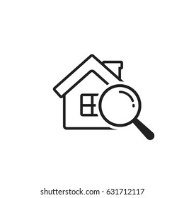 Search house icon, vector simple illustration isolated on white.
