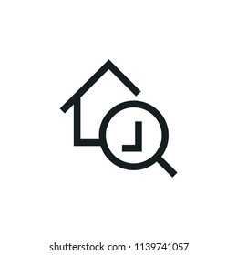Search House Modern Simple Outline Vector Icon