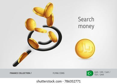 Search icon with flying Islamic Rial coins, finance concept. Vector illustration for print, websites, web design, mobile app, infographics.
