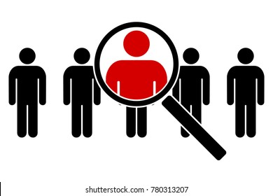 The search icon. Icons of people under a magnifying glass. Vector illustration.
