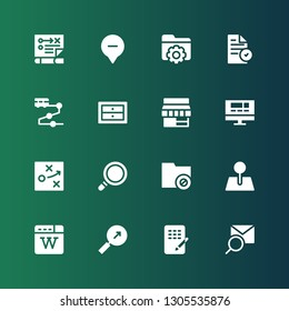 search icon set. Collection of 16 filled search icons included Search, Database, Wikipedia, Pin, Folder, Magnifying glass, Strategy, Website, Store, Drawers, Track, File, Location