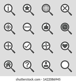Search Icons. Sticker Design. Vector Illustration.