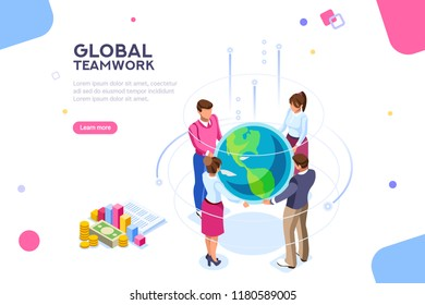 Search idea, new meeting profit, worker partner, staff strategy. Businesswoman presentation. Confident company investor corporate global colleague standing. World of flat isometric vector illustration