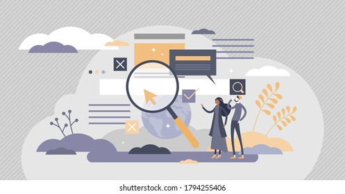 Search information online in internet websites flat tiny person concept. Find global data using search engine optimization vector illustration. Page research tool to help user get answers and solution