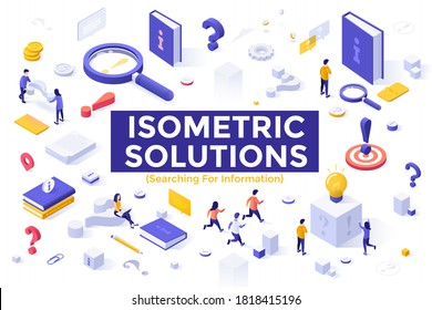 Search for information set - question marks, user manuals, instructions, guides, people looking for answers. Bundle of isometric design elements isolated on white background. Vector illustration.