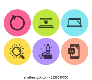 Search, Innovation and Web love icons simple set. Laptop, Loop and Smile signs. Find document, Crowdfunding. Technology set. Flat search icon. Circle button. Vector