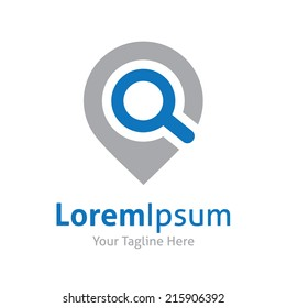 Search internet web with magnifying glass locator vector logo icon