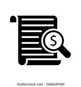 search invoice glyph flat vector icon