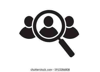 Search job vacancy icon. Search job, employees. Find people, human resource icon. Magnifier. Vector illustration.