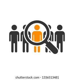 Search job vacancy icon in flat style. Loupe career vector illustration on white isolated background. Find employer business concept.