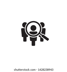 Search job vacancy icon in flat style. Loupe career vector illustration on white isolated background. Find people employer business concept