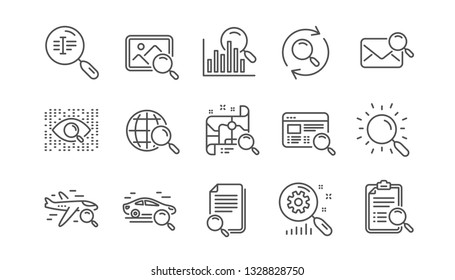 Search line icons. Indexation, Artificial intelligence and Car rental. Search images linear icon set.  Vector