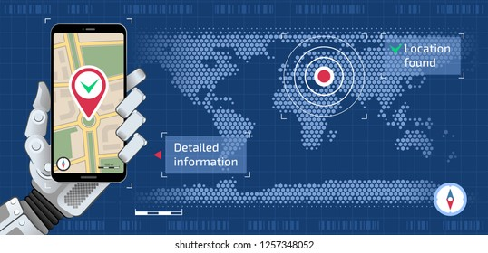 Search Location by Robot. Mechanical hand of a robot which is holding smartphone and showing city map on mobile app all of them are on a world map background.