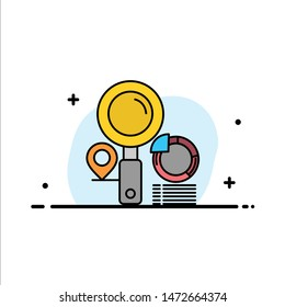 Search, Location, Finder, Graph,   Business Flat Line Filled Icon Vector Banner Template