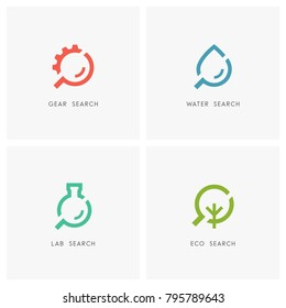 Search logo set. Gear wheel or pinion, drop of water, laboratory test tube, green tree and loupe or magnifier symbol - industry and machinery, chemistry and medicine, ecology and environment icons.