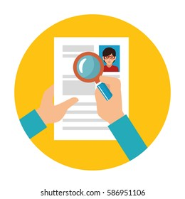 search with loupe in woman file info with curriculum vitae sheet