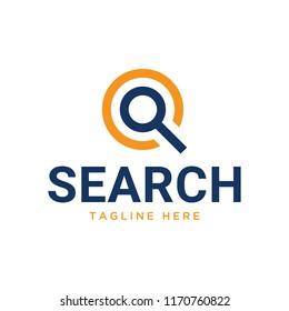 search , magnifying glass logo design templat