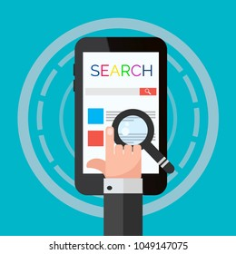 search mobile  flat design eps 10 vector