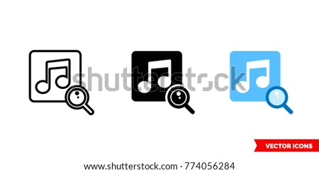 Search Music Icon 3 Types Color Stock Vector (Royalty Free