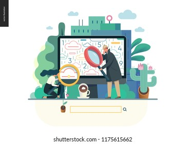 search page - modern flat vector illustration concept of digital data research on computer. Information researching interaction process Creative landing page design template