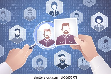 Search For People On The Internet. Vector illustration on the subject of 'Social Networks'.