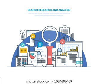 Search research and analysis. Problem solving, collecting data, data analytics and research, statistics research, auditing tax process, study of performance indicators. Illustration thin line design.