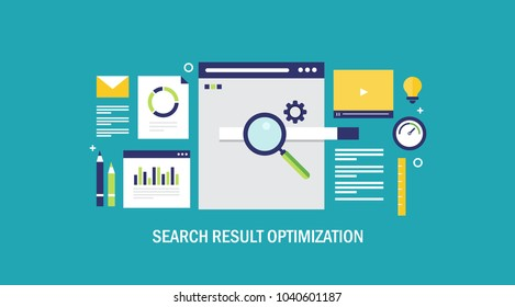Search result optimization - SEO marketing - analytics flat vector banner with icons