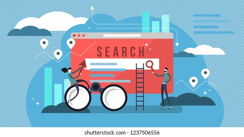Search results vector illustration. Banner with engine answers to question. Online business and technology to display pages in response to query by searcher. Stylized team to advertise or SEO work.