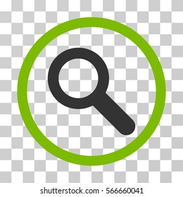 Search rounded icon. Vector illustration style is flat iconic bicolor symbol inside a circle, eco green and gray colors, transparent background. Designed for web and software interfaces.