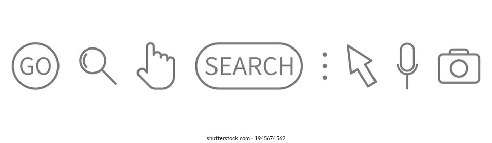 Search symbol set on long banner. Magnifying glass, search, cursor pointer, go, microphone, camera line icons. Search bar. Address and navigation template. Window display. Vector illustration.