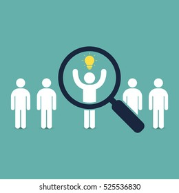 Search for talent with idea. Looking for employees and job, business, human resource. Looking for talent. Search man vector icon. Job search.
