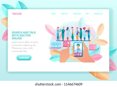 Search and Talk with Doctor Online. Telemedicine. Medical Consultation by Internet. Medicine and Healthcare Concept. Meeting of Doctors and Diagnosis. Landing Page Banner. Vector Illustration.