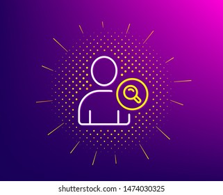 Search User line icon. Halftone pattern. Profile Avatar with Magnifying glass sign. Person silhouette symbol. Gradient background. Find user line icon. Yellow halftone pattern. Vector