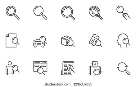 Search Vector Line Icons Set. Search for Documents, Goods, Tickets, Employees. Search Bot, Intelligent Search. Editable Stroke. 48x48 Pixel Perfect.