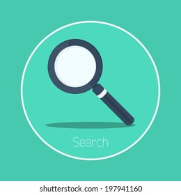 Search : Vector magnifying glass icon flat design
