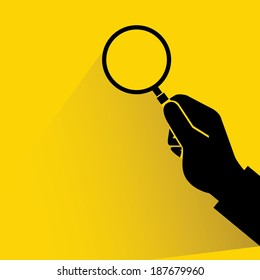 search, verify on yellow background, hand holding magnifier glass