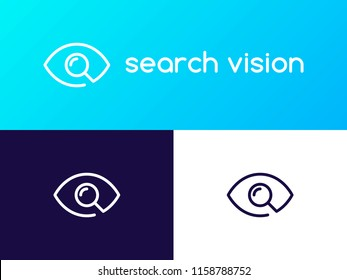 Search Vision logo concept. Line Eye with Magnifier icon design template. Linear search sign of ophthalmologist. Creative minimal vector element