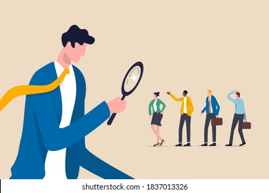 Searching the best candidate or job, Human resources, head hunt, choosing talent for job vacancy or company recruitment concept, employer boss or HR use magnifying glass to choose job interview people