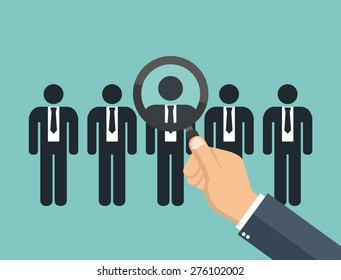 Searching for the best candidate with a magnifying glass - hiring for a job concept - Flat style