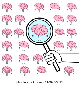 Searching brain or headhunter. Vector concept illustration of hand with magnifying glass searching brain | flat design linear infographic icon colorful on white background