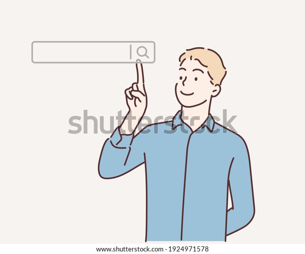 Searching Browsing Internet Data Information Networking Concept,Business man clicking internet search page on computer touch screen,copy space.Hand drawn style vector design illustrations.