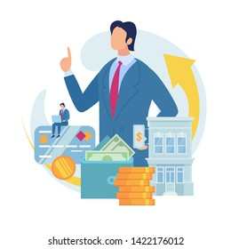 Searching Business Loan Offer, Bank Investments Proposal, Refinancing Opportunity Flat Vector Concept. Businessman, Business Owner with Laptop, Bank Building, Money in Wallet, Credit Card Illustration