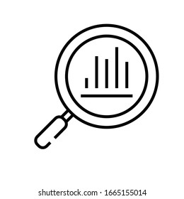 Searching charts line icon, concept sign, outline vector illustration, linear symbol.