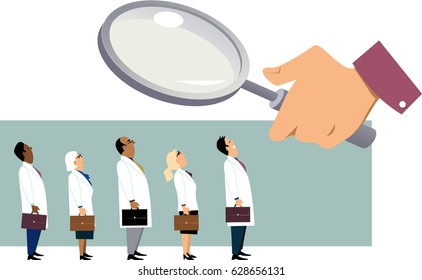 Searching for a doctor. Giant hand with a magnifying glass examining a line of people in white coats, EPS 8 vector illustration