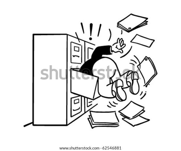 Cabinet Maker Clip Art: Searching Filing Cabinet Retro Clipart Illustration Stock