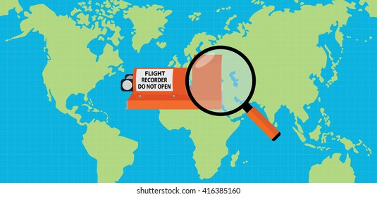 searching flight recorder black box with map as background and magnifying glass